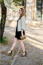 black H&M dress - Mango blazer - mustard H&M bag - dark brown Zara sandals