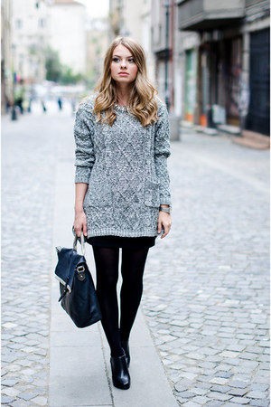 heather gray Sheinsidecom sweater - black Zara bag