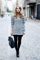 heather gray Sheinsidecom sweater - black Zara bag