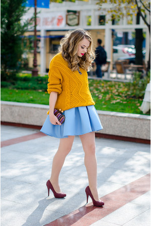 mustard Pimkie sweater - light blue Sheinside dress - crimson Stradivarius pumps