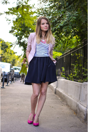 light pink Lefties blazer - black Lefties skirt - hot pink Bershka heels