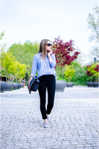 sky blue Stradivarius shirt - black suiteblanco bag - black H&M pants