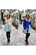 hot pink Bershka shoes - periwinkle Zara dress - off white Primark vest