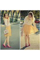 cream Lefties blouse - hot pink Bershka heels