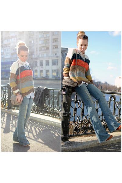 tawny Bershka boots - teal Mango jeans - cream New Yorker shirt