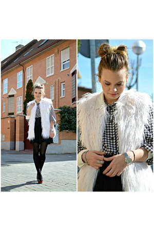 black Lefties skirt - white vintage shirt - ivory Pull and Bear vest