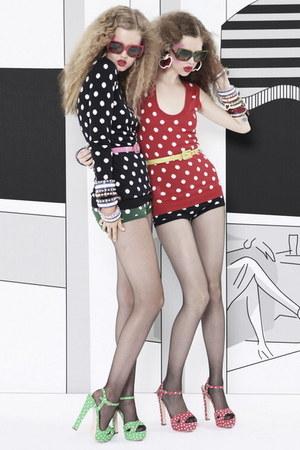 red mui mui heels - red mui mui top - black mui mui shorts