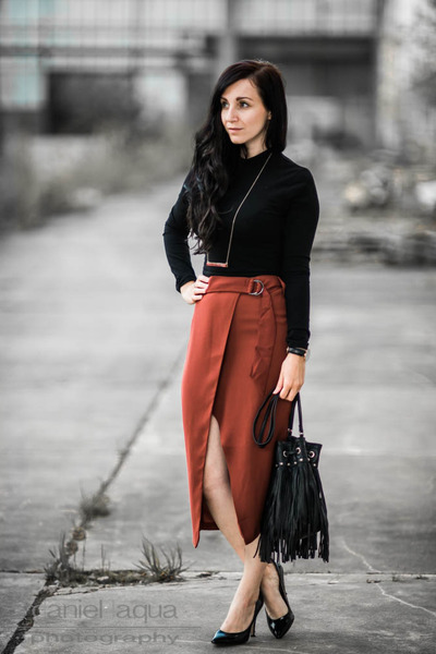 burnt orange wrapped skirt Miss Selfridge skirt