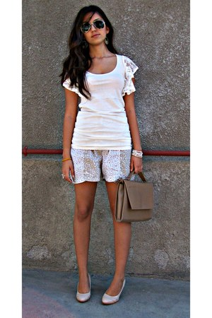 camel bag - ivory blouse
