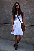 white dress - dark brown bag