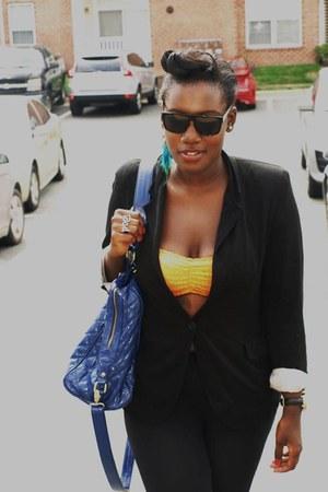 pauls boutique bag - f 21 leggings - H & M blazer - Ray Ban sunglasses