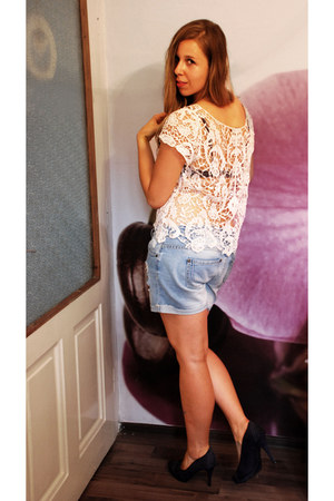 cream lace Tally Weijl top - sky blue boyfriend jeans F&F shorts