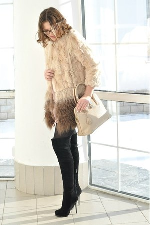beige DKNY bag