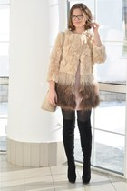 neutral fur Lily coat - black suede Over the knee boots - peach leather DKNY bag