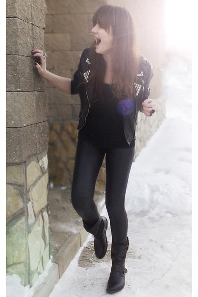 black DIY studded jacket