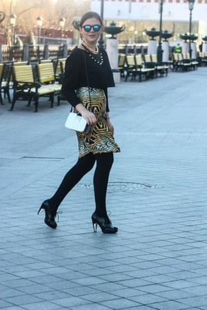 gold kira plastinina skirt - black H&M top