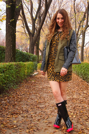 Hunter boots - Zara dress - Rodarte for Target jacket