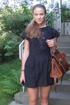 black Topshop dress - brown Mulberry bag