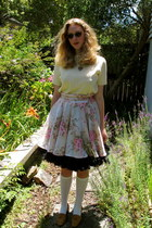 white socks - cream Secondhand blouse - black Secondhand skirt - pink homemade s