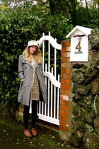 gray coat - brown Secondhand shoes - white Secondhand hat - brown homemade dress