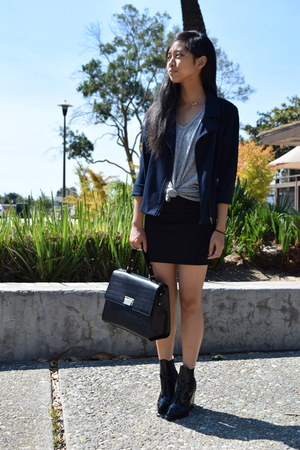 black pencil skirt skirt - navy blazer - black kate spade bag
