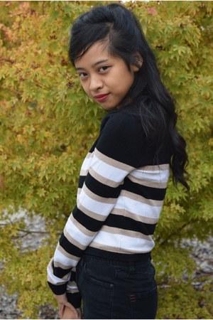 black BDG jeans - black crop top Forever 21 sweater - black kate spade bag