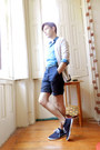 Navy-zara-shoes-teal-zara-shirt-navy-diy-shorts-ivory-h-m-cardigan