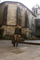 black Zara boots - black united colors of benetton sweater - charcoal gray Zara