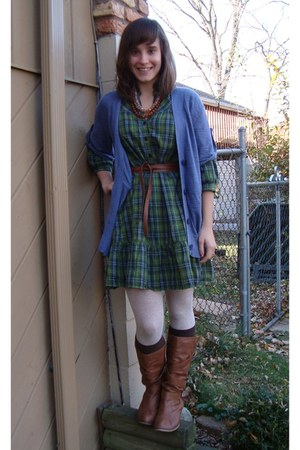 army green H&M dress - tawny Wet Seal boots - violet Target sweater