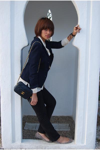 navy vintage blazer - beige vintage blouse - black Massimo Dutti jeans - silver