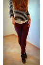 Burgundy-f-de-la-passion-jeans-brown-bata-boots-cream-new-look-blouse