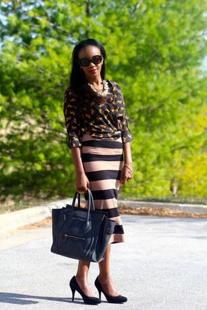 River Island skirt - Celine bag - f21 blouse - banana republic pumps