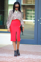 versace skirt - Zara bag - Givenchy heels - asos blouse