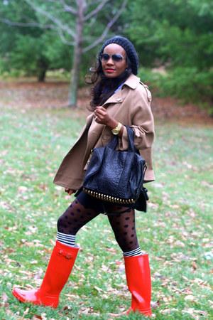 Hunter boots - Alexander Wang bag - ann taylor skirt - asos stockings