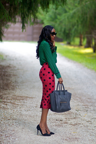 ruby red asos skirt - green JCrew shirt - gray Celine purse