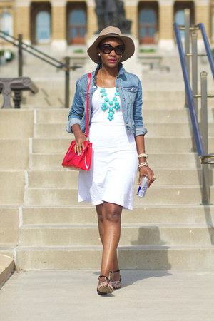 white CC California dress - camel asos hat - sky blue H&M jacket - red Prada bag
