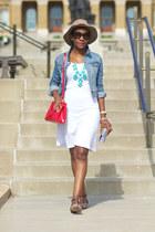 white CC California dress - camel asos hat - sky blue H&M jacket - red Prada bag
