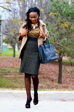 ann taylor skirt - Celine bag - Aldo heels - JCrew top - Stella McCartney cape