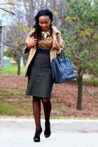 ann taylor skirt - Celine bag - Aldo heels - JCrew top - Stella McCartney cape