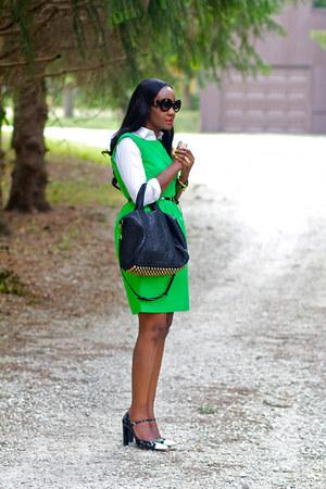 black Alexander Wang bag - chartreuse JCrew dress - white ann taylor shirt