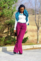 asos scarf - Anne Klein bag - ann taylor blouse - robert rodriguez pants