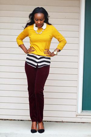 Equipment blouse - JCrew sweater - Zara pumps - Gap pants