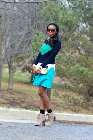 JCrew sweater - Nine West boots - vintage skirt