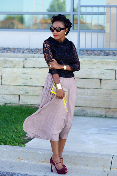 Mackage Collection skirt - tory burch bag - emporio armani sunglasses