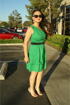 green one shoulder Jessica Simpson dress - black cat eye Forever 21 sunglasses