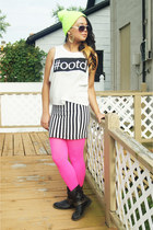 black Forever 21 boots - lime green Forever 21 hat - hot pink tights