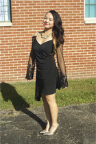 gold Rampage shoes - black thrifted dress - gold Jessica Simpson necklace
