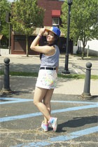 lime green multicolored shoes - blue la hat - white diy paint shorts