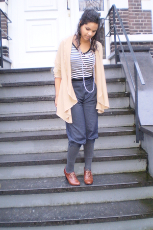 brown H&M shoes - H&M pants - beige Sustilo cardigan - Accessorize necklace - Su