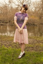 vintage 70s dress - Junk Food t-shirt - t-strap Aldo heels